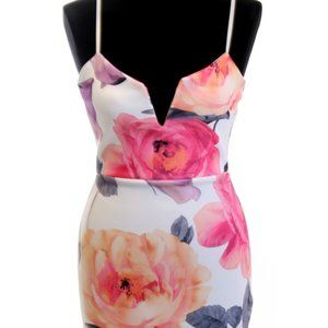 Floral Print Bodycon Strappy Midi Dress